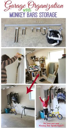 Garage Organization with Monkey Bars Storage Large Sports Rack Pin at The Happy Housie by darcy Garage Organization, Garage Storage, Storage Rack, Organization Ideas, Storage Ideas, Monkey Bar Storage, Sport Rack, Garage Shop, Shop Plans