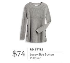 RD Style Louey Side Button Pullover - gray - Stitch Fix 2016