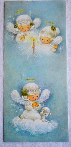 This vintage Christmas card is in excellent condition. Used.  Writing inside.  Measures 3 1/2 x 8.  There is no envelope.  By Brook Line.