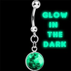 Glow in the Dark Moon Dangle Belly Ring Moon belly button ring. Glow in the dark navel ring with a dangle logo inlay. Surgical steel curved barbell body jewelry with glowing style.