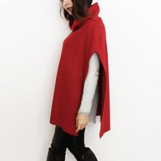 Wool sweater cape discount black and white by Afycollection ...
