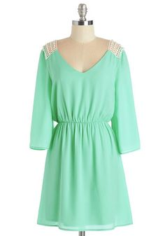 Gratitude and Grace Dress - Mint, Solid, Crochet, Casual, Boho, A-line, 3/4 Sleeve, Spring, Woven, Good, Mid-length