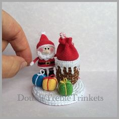 Finally completed project! Love it!  a pattern can be found on ravelry http://www.ravelry.com/patterns/library/santa-in-the-chimney #crochetchristmas #santa #amigurumi #homedecor #handmade #decoration #caketopper #christmasdecoration #doubletrebletrinkets
