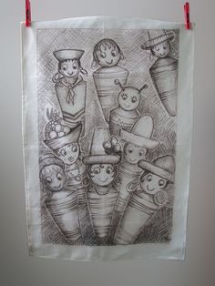 Bobble people tea towel by Manymakepeaces on Etsy, $30.00 plus postage. From a drawing I did a few years back...