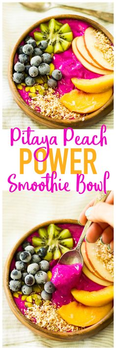 Gorgeous, healthy morning fuel! Pitaya Peach Power Smoothie Bowl is loaded with antioxidants, protein, and fresh flavor. Allergen free and easy to make! {AD}