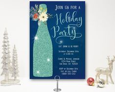 Celebrate the season with a holiday cocktail party invitation featuring wine and champagne. Christmas Dinner Invitation, Christmas Party Invitations, Dinner Invitations, Digital Invitations, Birthday Party Invitations, Christmas Cocktail Party, Christmas Cocktails, Holiday Parties, Invitation Design