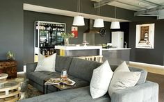 An unconventional penthouse in Durban makes small spaces cool. For more, visit houseandleisure.co.za Compact Living, Sofa, Couch, Small Spaces, Furniture, Design, Home Decor, Settee, Settee