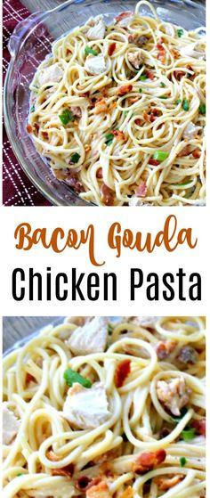 Chicken Bacon Gouda Pasta via @OCRaquel