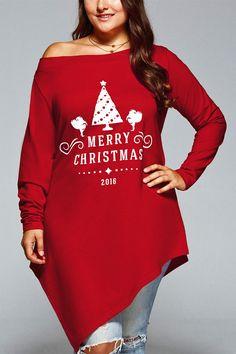 $14.00 Plus Size Merry Christmas Print Asymmetric Top