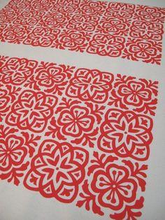 Fab fabric $17.55 #etsy #handmade #fabric #screenprint #red #moroccan