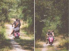 countryside pre-wedding photoshoot #vespa Pre Wedding Shoot Ideas, Pre Wedding Photoshoot, Wedding Inspiration, Couple Posing, Couple Shoot, Motorcycle Engagement Photos, Vespa Wedding, Wedding Events, Weddings