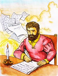 Alonso de Ercilla escribiendo La Araucana