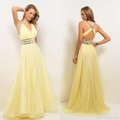 Plus Size Long Prom Dress 2015 With Abendkleider Crystal Floor Lenght A Line Custom Sleeveless Sexy V Neck Yellow Dresses To Prom Party Gow Online with $111.0/Piece on Beautiful_wedding's Store | DHgate.com