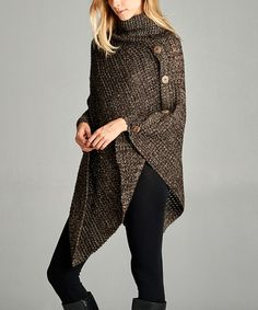 Look at this #zulilyfind! Brown Asymmetrical Side-Button Turtleneck Poncho #zulilyfinds