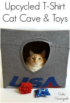 Upcycle T Shirts, Diy Cat Tent, Dyi Cat Bed, Cat Cave, Diy Stuffed Animals, Diy Toys, Diy Craft Projects, Fun Crafts, Easy Diy