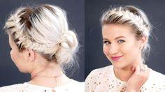 Double French Braids Messy Bun For Short Hair | Milabu