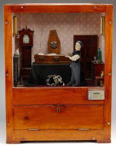 """St. Dennistoun Mortuary"" funerary scene, coin-operated automaton (John Dennison c. 1900)"