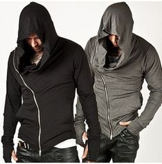 Unbeatable Arm Warmer Diagonal Zip Mens Assassin Creed Hoodie (Charcoal)