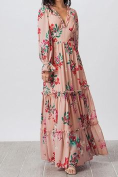 Modest Maxi Dress, Pink Floral Maxi Dress, Cute Maxi Dress, Long Floral Dresses, Maxi Dresses, Fashion Dresses, Casual Dresses, Dress Outfits, Party Outfits