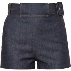 BALENCIAGA Belted Denim Shorts (1.300 BRL) ❤ liked on Polyvore featuring shorts, bottoms, pants, short, sortsit, high waisted short shorts, high-waisted jean shorts, balenciaga, high-waisted denim shorts and pocket shorts