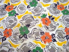 February Special Feedsack Quilting Fabric, Vintage Fabric, Feedsack Fabric, Feed Sack, Crafting Fabric,  Quilt Blocks, Yellow, Orange