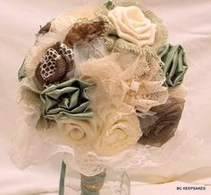 Shabby Chic Satin Sage, Chocolate Burlap,  with Ivory and Cream Lace Wedding Bouquet