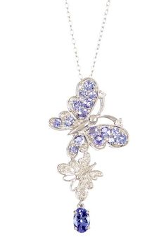 Diamond & Tanzanite Butterfly Pendant Necklace by Savvy Cie on @HauteLook