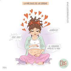 """¡Estas ilustraciones sobre embarazo son lo más! Conocí a""""Cleo Ilustrada""""gracias a las redes sociales y tengo que confesarque sus dibujos sobre las aventuras de una embaraza me parecen magistrales."""