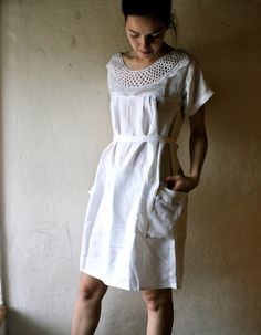 White linen Tunic Dress by larimeloom on Etsy, €145.00