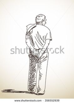 Sketch of old man from back, Hand drawn illustration