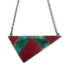 Triangle Necklace Red Patina now featured on Fab.