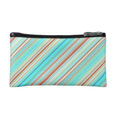 Multicolor Striped Pattern Cosmetic Bag - chic design idea diy elegant beautiful stylish modern exclusive trendy