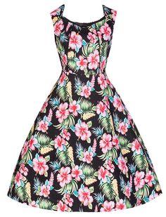 Lindy Bop 'May' Vintage 50's Hibiscus Floral Print Swing Dress (M, Black)