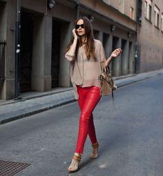 sheer blouse red pants