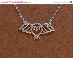 sterling silver flying owl pendant and sterling silver chain - any length up to 20 inches