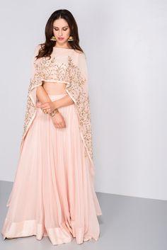 Rent PRATHYUSHA GARIMELLA - Light pink cape style lehenga set
