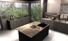 kuchnia , ogród za oknem