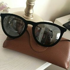 Black Velvet Erica Collection RAYBAN Authentic Rayban Sunglass silver Mirror lenses /minor scratch on frame(face side)barely noticeable, as seen on picture 3 Ray-Ban Accessories Sunglasses