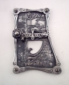 Thomas F. Googerty, Door Latch, wrought iron and spring steel, circa 1930 Metal Museum Forging Metal, Spring Steel, Door Latch, Wrought Iron, Metal Working, Locks, Art Nouveau, Keys, Gothic
