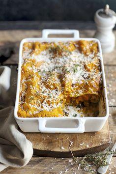 Butternut squash or Pumpkin-Spinach Lasagna Yummy Pasta Recipes, No Salt Recipes, Veggie Recipes, Vegetarian Recipes, Yummy Food, Pumpkin Recipes, Fall Recipes, Organic Cooking, Spinach Lasagna