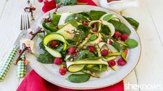 Show off spring veggies with this healthy zucchini ribbon salad with raspberry dressing