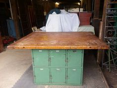 Community table Craigslist. $400 50x 64 Heavy wood topped locker set. Plenty of overhang on all sides for stools. Lockers have original tags-made in Cleveland, Oh. This is a rare find! Antiques, Mantiques, Vintage, Industrial, &...