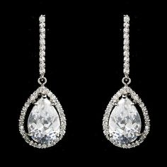 Fabulous Antique Silver Clear CZ Drop Earrings 5172