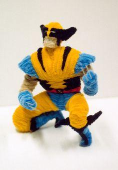 Pipe Cleaner Wolverine by fuzzymutt on deviantART ||| X-Men, Marvel, comic, super, hero, Logan, sculpture, chenille stem