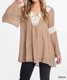 V-Neck long sleeve tunic with lace #c7113 #tops