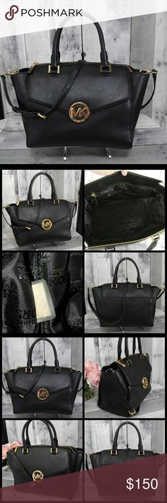 """Michael Kors Black Large Hudson Handbag NWOT Large Pebbled leather MK Hudson. Gold hardware, front flap pocket - long strap is removable & adjustable. Comes with dust bag! New without tags!! Four bottom protective feet Back exterior slip pocket, Inside has back wall zip and 4 slip pockets. Perfect everyday bag!!! 15"""" wide 9.5"""" tall New without tags 100% authentic ** No trades** MICHAEL Michael Kors Bags Shoulder Bags"""