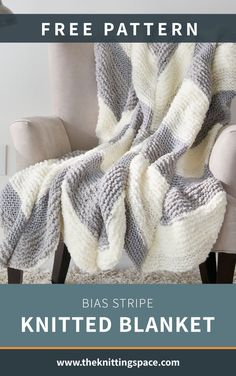 Drape this Bias Stripe Knitted Blanket all over your couch to add a dose of cozy and comfort. Worked in gorgeous chevron-like patterns, it's a an easy knitting piece that will accentuate your space with lovely textures and colors. It makes for an ideal fall or winter project, and an excellent housewarming gift. | Discover over 4,500 free knitting patterns at theknittingspace.com #knitpatternsfree #easyknittingprojects #DIY #howtoknitblankets Sewing Patterns For Kids, Knitting Patterns Free, Free Knitting, Crochet Patterns, Blanket Patterns, How To Sew Baby Blanket, Easy Knitting Projects, Knitting Ideas, Sewing Projects