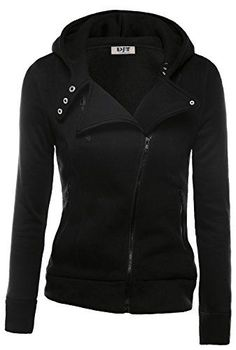 $35 Amazon Fashion -2017 Winter Fashion! Stylish DJT Womens Oblique Zipper Slim Fit Hoodie Jacket in black. Other colors available