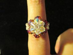 Swarovski Crystal Ring  yellow over red/blue size 657 by jsdd, $10.00