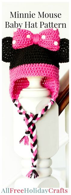 Mouse Crochet Hat Pattern Minnie Mouse Crochet Hat Pattern - Crochet baby hat and crochet hat for kids pattern.Minnie Mouse Crochet Hat Pattern - Crochet baby hat and crochet hat for kids pattern. Crochet Kids Hats, Crochet Beanie, Cute Crochet, Crochet Crafts, Crochet Projects, Crocheted Hats, Crochet Cardigan, Crotchet, Baby Hat Patterns